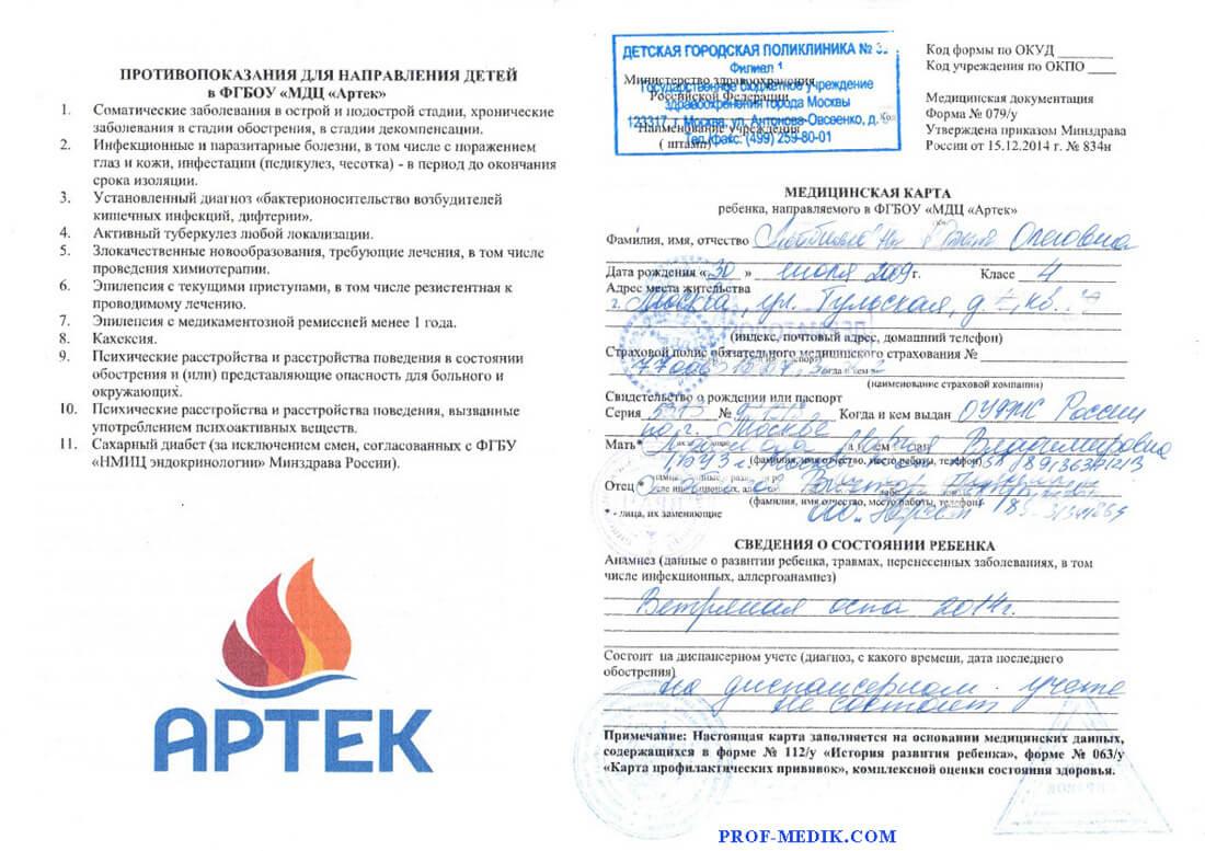 Купить справку в Артек форма 159/у-02 в Москве