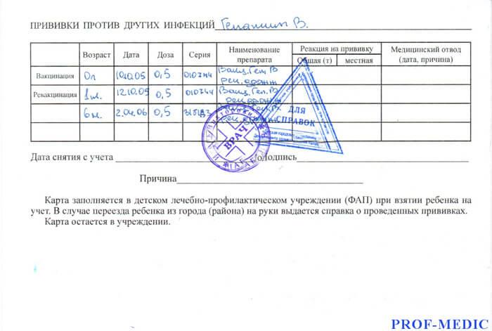 Купить карту профилактических прививок форма 063 у