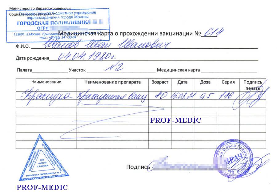 Купить справку о прививке от краснухи в Москве